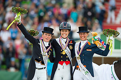 Charlotte Dujardin, Helen Langehanenberg, Adelinde Cornelissen - Freestyle Grand Prix Dressage - Alltech FEI World Equestrian Games™ 2014 - Normandy, France.<br /> © Hippo Foto Team - Jon Stroud<br /> 25/06/14