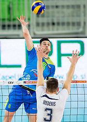 Alen Sket of Slovenia vs Ansis Medenis of Latvia during volleyball match between National teams of Slovenia and Latvia in Qualifications for 2015 CEV Volleyball European Championship - Men on May 25, 2014 in Arena Stozice, Ljubljana, Slovenia. Photo by Vid Ponikvar / Sportida