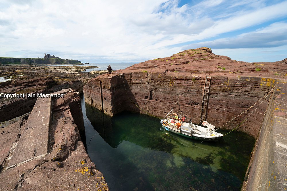View of man made Seacliff harbour at Seacliff Beach in East Lothian, Scotland, UK