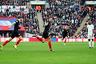 Croatia's Andrek Kramaric celebrating after scoring goal to make it 0-1 during the UEFA Nations League match between England and Croatia at Wembley Stadium, London, England on 18 November 2018.