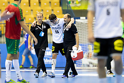 Hendrik Schreiber of Germany injured during handball match between National teams of Germany and Portugal in game for Third place of 2018 EHF U20 Men's European Championship, on July 29, 2018 in Arena Zlatorog, Celje, Slovenia. Photo by Urban Urbanc / Sportida