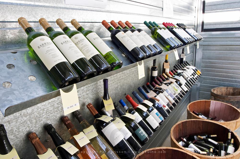 Bottles on sale in the shop. Mas Igneus, Gratallops, Priorato, Catalonia, Spain.