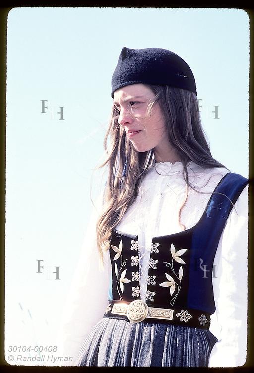 Portrait of guide @ Arbaer Folk Museum, Mist Thorkelsdottir, in national costume; Reykjavik Iceland