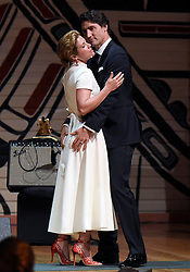 Prime Minister Justin Trudeau and his wife Sophie Gregoire Trudeau joke on stage during the annual Press Gallery Dinner at the Canadian Museum of History on Saturday, June 4, 2016 in Gatineau, Quebec. Photo by Justin Tang/The Canadian Press/ABACAPRESS.COM    550268_005 Gatineau Canada
