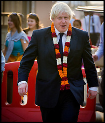 London Mayor Boris Johnson visits the Akshardham Temple in New Delhi, a sister temple to the Neasden Temple in North West London, on the first of a six-day tour of India, where he will be trying to persuade Indian businesses to invest in London, Sunday November 25, 2012. Photo by Andrew Parsons / i-Images