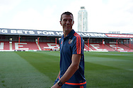 Marinus Dijkhuizen, the Brentford head coach smiles as he arrives at Griffin Park before k/o. Skybet football league Championship match, Brentford v Ipswich Town at Griffin Park in London on Saturday 8th August 2015.<br /> pic by John Patrick Fletcher, Andrew Orchard sports photography.