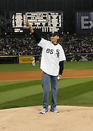 CHICAGO - OCTOBER 12:  Future United States President (then Senator) Barack Obama throws out the ceremonial first pitch prior  to Game 2 of the American League Championship Series between the Chicago White Sox and Los Angels Angels at U.S. Cellular Field on October 12, 2005 in Chicago, Illinois.  The White Sox defeated the Angels 2-1.