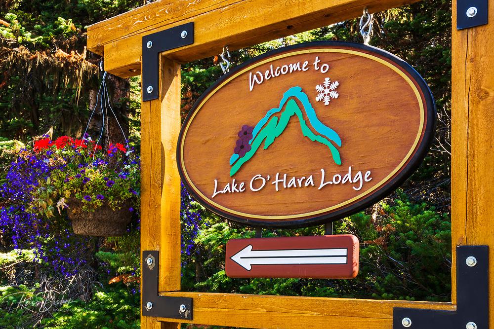 Lake O'hara Lodge sign, Yoho National Park, British Columbia, Canada