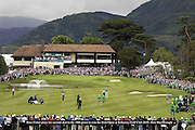 Ross Fisher plays his second shot to the 18th green before  winning the 3 Irish Open at Killarney Golf Club on Sunday.<br /> Picture by Don MacMonagle
