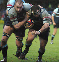 Photo: Ian Hebden.<br />Bedford Blues v Harlequins. National League Division 1.<br />03/12/2005.<br />Bedfords John Brooks (right) breaks for the line with Arthur Phillips assistance
