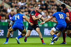 Ruaridh McConnochie of England takes on Mattia Bellini of Italy and Carlo Canna of Italy - Mandatory by-line: Robbie Stephenson/JMP - 06/09/2019 - RUGBY - St James's Park - Newcastle, England - England v Italy - Quilter Internationals