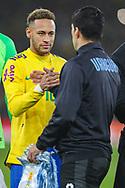 Brazil forward Neymar Jr (10) shakes hands with Uruguay forward Luis Suárez (9) during the Friendly International match between Brazil and Uruguay at the Emirates Stadium, London, England on 16 November 2018.