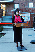 BROOKLYN, NEW YORK: NOVEMBER 6, 2020- Tahirah Moore, New York City Mayor's Office and others attend the official ribbon cutting ceremony opening the new New York City Housing Authority (NYCHA) Marcy Houses Community Center on November 6, 2020 in the Bedford Stuyvesant section of Brooklyn, New York City.   Photo by Terrence Jennings/terrencejennings.com