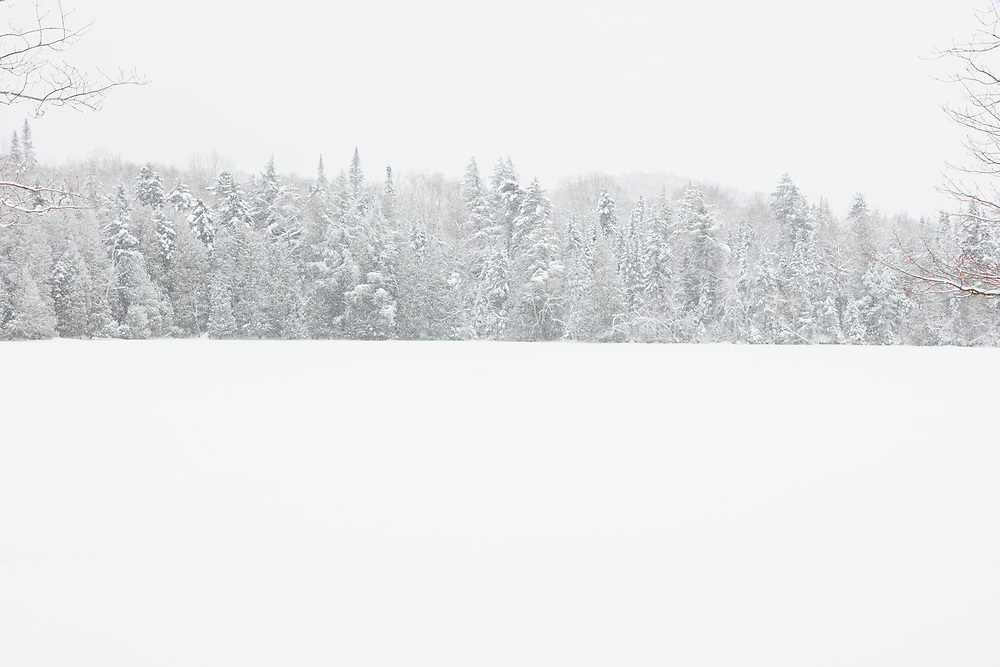 snowy winter, landscape on Lake Placid at Whiteface Landing in New York State's Adirondack Park