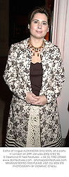Editor of Vogue ALEXANDRA SHULMAN, at a party in London on 29th January 2002.OWZ 46