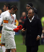 UEFA Champions league group H football match between  Braga v Galatasaray at Municipal (AXA)Stadium in Braga, Portugal 05.12.2012.Match Scored: Braga 1 - Galatasaray 2.Pictured: Coach Fatih Terim and Galatasaray's footballers celebrates after the scored.