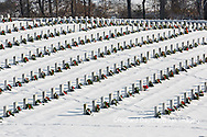 65095-03011 Wreaths on graves in winter Jefferson Barracks National Cemetery St. Louis,  MO