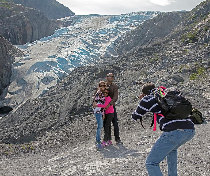 Alaska; Summer scenic of a family visiting Exit Glacier in Kenai Fjords National Park, Seward.