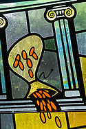 Stained glass depicting the overturned bag of money (Mark 11:15) on Sunday, Aug. 2, 2020, at Elm Grove Lutheran Church, Elm Grove, Wis. LCMS Communications/Erik M. Lunsford
