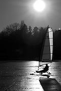 Berlin, GERMANY, General Views, GVs. Berlin Spandau, Wannsee, Lake,  Frozen over, Ice Yachts.  Monday - 12/01/2009 {Mandatory Credit/Peter Spurrier] Street Photos