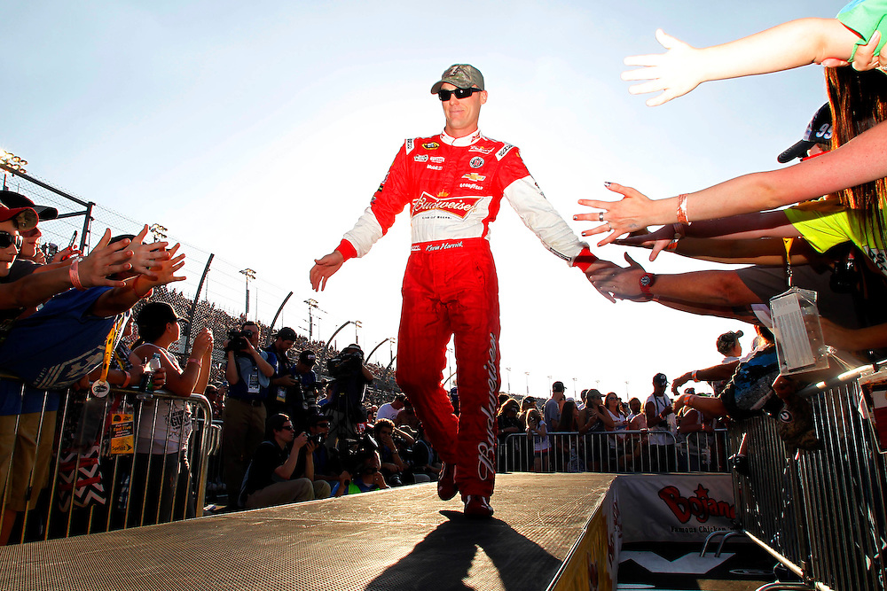Apr 12, 2014; Darlington, SC, USA; NASCAR Sprint Cup driver Kevin Harvick (4) during driver introduction before the Southern 500 at Darlington Raceway. Mandatory Credit: Peter Casey-USA TODAY Sports