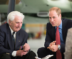 File photo dated 22/09/15 of the Duke of Cambridge talking with veteran Flying Officer Ken Wilkinson, one of the last surviving Spitfire pilots from the Battle of Britain, who has died.