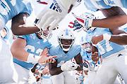 The Citadel linebacker Marquise Blount hypes up his teammates before facing Charleston Southern University on Military Appreciation Day at Johnson Hagood Stadium in Charleston, South Carolina on Saturday, September 11, 2021.<br /> <br /> Credit: Cameron Pollack / The Citadel Athletics