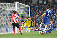 Dusan Tadic of Southampton crosses the ball. Barclays Premier league match, Chelsea v Southampton at Stamford Bridge in London on Sunday 15th March 2015.<br /> pic by John Patrick Fletcher, Andrew Orchard sports photography.