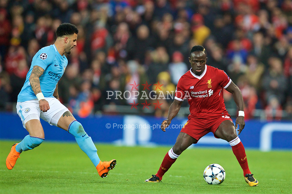 LIVERPOOL, ENGLAND - Wednesday, April 4, 2018: Liverpool's Sadio Mane (right) and Manchester City's Kyle Walker (left) during the UEFA Champions League Quarter-Final 1st Leg match between Liverpool FC and Manchester City FC at Anfield. (Pic by David Rawcliffe/Propaganda)