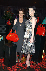 Left to right, LULU GUINNESS and DITA VON TEESE at a preview of Lulu Guinness's new Handbag Collection ' Couture' held at Aviva, Baglioni Hotel, 60 Hyde Park Gate, London SW7 on 15th February 2006.<br /><br />NON EXCLUSIVE - WORLD RIGHTS