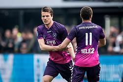 (L-R) Lukas Gortler of FC Utrecht, Cyriel Dessers of FC Utrecht during the Dutch Eredivisie match between Feyenoord Rotterdam and FC Utrecht at the Kuip on April 15, 2018 in Rotterdam, The Netherlands