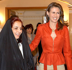 File photo - Syrian Asma El Assa is greeted by Sheikha Sabika, wife of Bahrain's king, when she arrives at Manama airport, Bahrain, on June 11, 2005. Sheika Sabika headed an Arab First Ladies meeting in Bahrain on 11-12 June. Syria's British-born first lady Asma Assad has begun treatment for breast cancer. The Syrian presidency posted on its Facebook page a photo of President Bashar Assad sitting next to his wife in a hospital room. Photo by Balkis Press/ABACA.