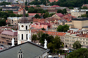 High angle view of the Vilnius Arkikatedra Basilka from Gedimino Bokstas, with the background softened