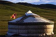 Ger & Mongolian flag<br /> Bogdkhan Reserve<br /> Near Ulaanbaatar<br /> Mongolia
