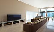 Interior of a modern living room, comfortable divan