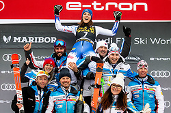 First placed VLHOVA Petra of Slovakia and her team celebrate during Flower cermony after the 6th Ladies'  GiantSlalom at 55th Golden Fox - Maribor of Audi FIS Ski World Cup 2018/19, on February 1, 2019 in Pohorje, Maribor, Slovenia. Photo by Vid Ponikvar / Sportida