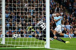 Sergio Aguero of Manchester City watches his shot saved by AndriyPyatov of Shakhtar Donetsk - Mandatory by-line: Matt McNulty/JMP - 26/09/2017 - FOOTBALL - Etihad Stadium - Manchester, England - Manchester City v Shakhtar Donetsk - UEFA Champions League Group stage - Group F