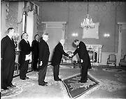20/11/1956<br /> 11/20/1956<br /> 20 November 1956<br /> German Ambassador His Excellency Dr Felician Prill, presents his credentials to President Sean T. O'Kelly at Aras an Uachtarain, Phoenix Park, Dublin.