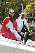 September 16, 2012- Harlem, New York: (L-R) Lavale Barah, Queen of Eureka Grand Chapter and Carl Jones, King of Eureka Grand Chapter at the 42nd Annual African American Day Parade held along Adam Clayton Blvd on September 16, 2012 in Harlem New York City. The first African American Day Parade was held in September 1969 in Harlem. The first Grand Marshal was Congressman Adam Clayton Powell, Jr. The purpose of the parade is to provide an opportunity for African people to join together on a Special Day to highlight history and salute African people throughout America and the world for their outstanding achievements. (Terrence Jennings)