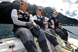 L-R Gerry Mitchell, GBR, Richard Sydenham, GBR, Ian Williams GBR. On board Team GAC Pindar. St Moritz Match Race 2010. World Match Racing Tour. St Moritz, Switzerland. 31st August 2010. Photo: Ian Roman/Subzero Images.
