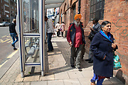 Multicultural street scene in Digbeth near central Birmingham, United Kingdom.