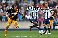 Fred Onyedinma of Millwall ® runs past Romain Vincelot, the Bradford City captain. EFL Skybet football league one match, Millwall v Bradford city at The Den in London on Saturday 3rd September 2016.<br /> pic by John Patrick Fletcher, Andrew Orchard sports photography.