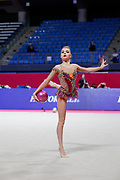 Averina Dina during final at bal in Pesaro World Cup at Virtifrigo Arena on may 30, 2021. Dina is the 2017-2018-2019 World All-around Champion. She was born on August 13, 1998 in Zavolzhye, Russia. Dina has a twin sister  Arina, she is also a great gymnast