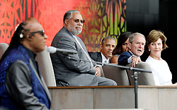 (R to L) : Former First Lady Laura Bush, former President George W. Bush, First Lady Michelle Obama,U.S President Barack Obama and Founding Director of the NMAAHC Dr. Lonnie Bunch listen to singer Stevie Wonder during the opening ceremony of the Smithsonian National Museum of African American History and Culture on September 24, 2016 in Washington, DC, USA. The museum is opening thirteen years after Congress and President George W. Bush authorized its construction. Photo by Olivier Douliery/Pool/ABACAPRESS.COM