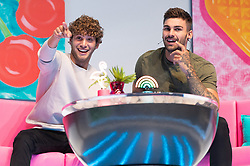 © Licensed to London News Pictures. 10/08/2018. London, UK. Eyal Booker and Adam Collard attends Love Island Live event at the Excel Center. Photo credit: London News Pictures