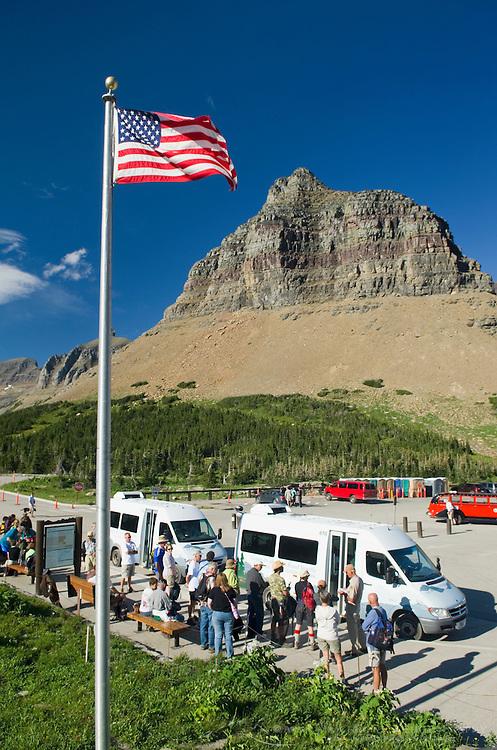 Shuttle buses at Logan Pass, Glacier National Park Montana USA