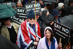 © Licensed to London News Pictures . 16/09/2018. Manchester, UK. Thousands of people including the UK's Chief Rabbi and Members of Parliament attend a demonstration against rising anti-Semitism in British politics and society , at Cathedral Gardens in Manchester City Centre . Photo credit : Joel Goodman/LNP