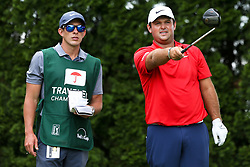 June 22, 2018 - Cromwell, Connecticut, United States - Patrick Reed (R) and his caddie Kessler Karain chat on the 9th tee during the second round of the Travelers Championship at TPC River Highlands. (Credit Image: © Debby Wong via ZUMA Wire)