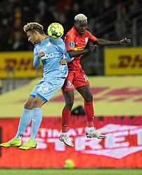 Marvin Egho (Randers FC) og Mohammed Diomande (FC Nordsjælland) under kampen i 3F Superligaen mellem FC Nordsjælland og Randers FC den 19. oktober 2020 i Right to Dream Park, Farum (Foto: Claus Birch).