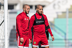(L-R) Nordin Amrabat of Morocco, Karim El Ahmadi of Morocco during a training session prior to the International friendly match between Morocco and Oezbekistan in Cassablanca on March 26, 2018, Morocco.